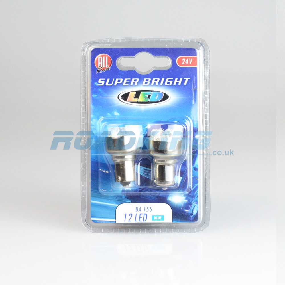 BA15S 12 LED 24 Volt Bulb x 2 | Blue