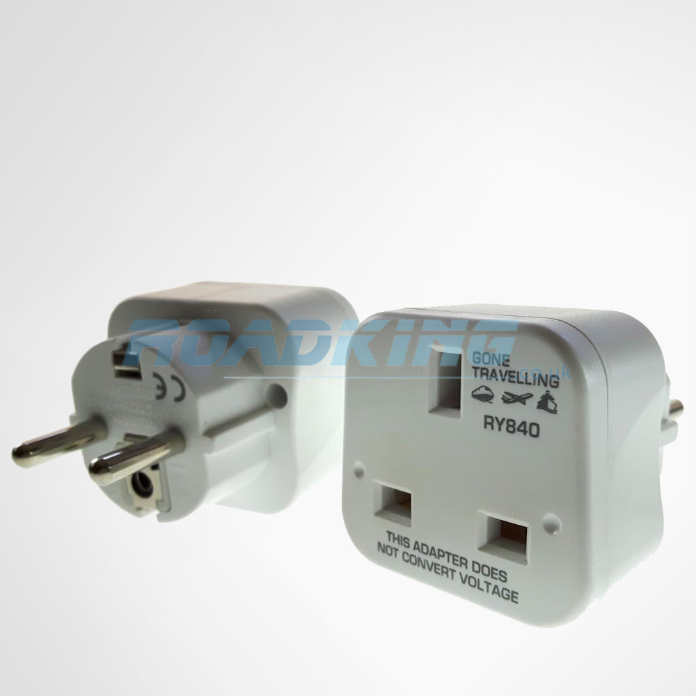 Travel Adapter | Europe 2-Pin to UK 3-Pin | 2 Pack