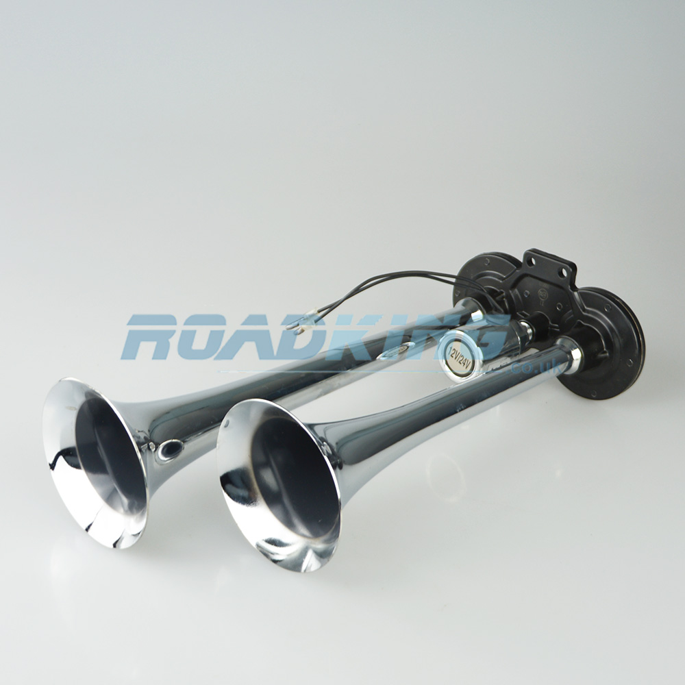 Twin Air Horn Set | Chrome | 12/24v