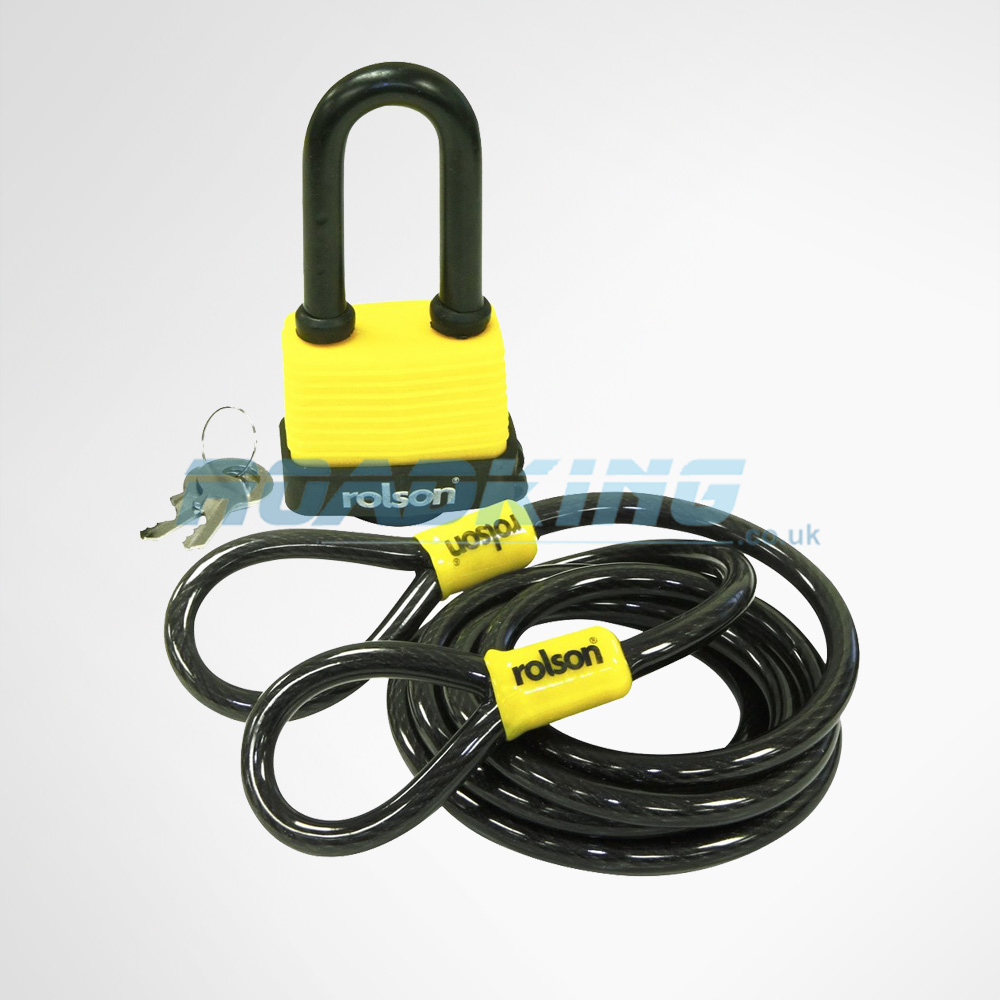 Laminated 50mm Padlock & 1.8m Steel Cable