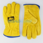 Leather Driving Gloves | Blue Trim Felt Lined | Size 9