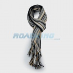 Mens Striped Scarf - Black, White, Grey & Gold