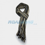 Mens Striped Scarf - Brown, White, Biege & Blue