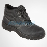 Leather Safety Boot With Steel Toecap & Midsole | Black